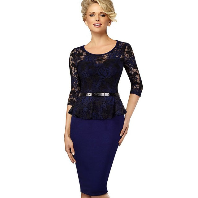 Dignified Women Vintage Belted Floral Lace Peplum Dress Elegant Round Neck Pinup Wear To Work Bodycon Pencil Dress EB360