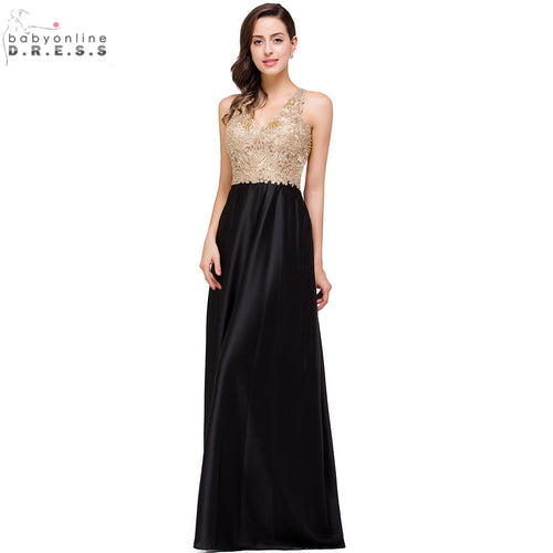 Sexy Open Back Gold Lace Beaded Black Chiffon Evening Dress 2017 Real Image Cheap Evening Dresses Long Robe de Soiree Longo