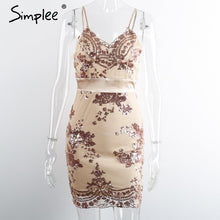 Simplee Apparel Evening party elegant sequin dress Women sexy v neck bodycon dress 2016 short beach summer dress mesh vestidos