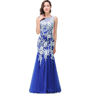 Robe de Soiree Longue Sexy Sheer Back Royal Blue Mermaid Lace Evening Dress 2017 Real Image Cheap Tulle Evening Dresses Long