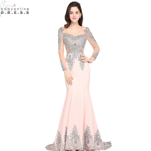 Vestido de Festa Sexy Sheer Back Sliver Beaded Lace Pink Mermaid Evening Dress 2017 Long Sleeve Evening Gown Robe de Soiree