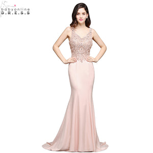 Robe de Soiree Longue Luxury Beaded Mermaid Evening Dress 2017 Long Sexy Open Back V Neck Evening Gown Vestido de Festa