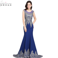 Robe de Soiree Longue Cheap Beaded Lace Mermaid Royal Blue Evening Dress Long 2017 Sexy Sheer Back Evening Gown Vestido de Festa