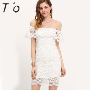 T'O Woman Sexy Off Shoulder Slash Neck Crochet Lace White Color Lotus Sleeve Clubwear Night Club Party Evening Mini Dress 536