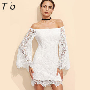 T'O Crochet Lace White Sexy Dress Slash Neck Off Shoulder See Through Flared Long Sleeve Party Night Club Vestidos Dresses 522