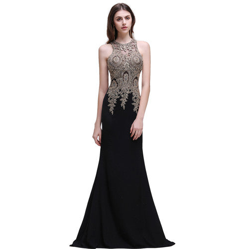 Robe de Soiree Longue Cheap Black Lace Mermaid Long Evening Dress 2017 Sexy Sheer Appliques Embroidery Evening Party Dresses