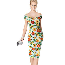 T'O 2016 Elegant Lady Sexy V-Neck Off Shoulder Floral Print Strap Casual Party Club Evening Formal Bodycon Wiggle Midi Dress 123