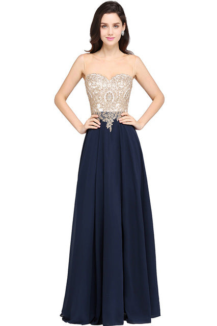 Robe de Soiree Longue Sexy Sheer Back Navy Blue Lace Beaded Evening Dress 2017 Cheap Chiffon Evening Gown Vestido de Festa