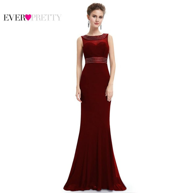 [Beads Easy To Fall] Women Evening Dresses Ever Pretty EP08734 Mermaid Evening Dress See Through Gowns Evening Party Dresses