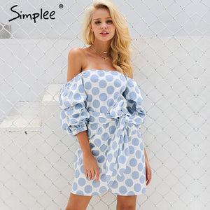 Simplee Off shoulder ruched puff sleeve summer dress Loose casual robe femme High waist sashes backless party dress vestidos