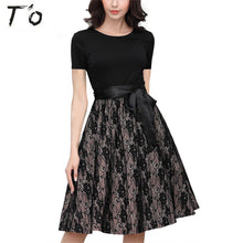 T'O 2017 Summer New Elegant Woman Lace Dress O Neck Short Sleeve Tunic Waist Ties Office Lady Work Party Pleated Swing Dress 657