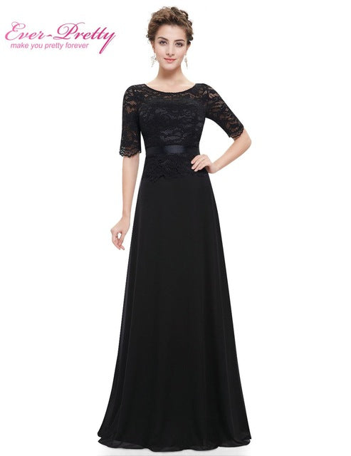 Elegant  Black Lace Half Sleeve A Line O-neck Evening Dress Ever Pretty EP08847 New Arrival 2017