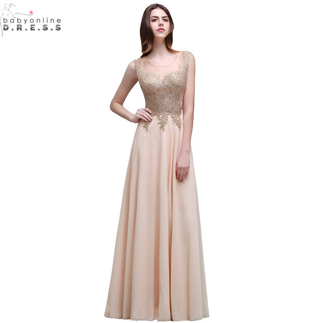 Robe Soiree New Champagne Lace Embroidery Beaded Long Evening Dress 2017 Sexy Sheer Back Chiffon Evening Party Dresses