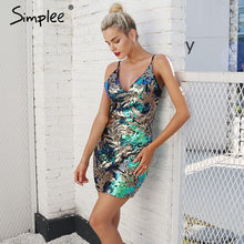 Simplee Sexy backless strap mini dress party V neck sequin party dresses women Club skinny zipper short dress autumn 2017