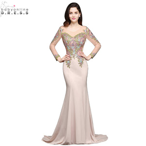 Robe de Soiree Longue Luxury Beaded Lace Mermaid Long Sleeve Evening Dress 2017 Sexy Sheer Back Evening Gown Vestido de Festa
