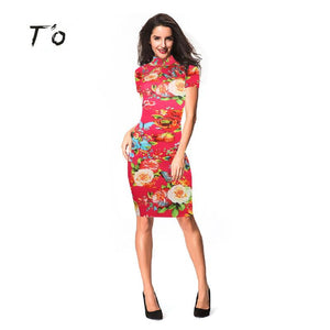T'O 2016 New Elegant Vintage Floral Flower Print Red Blue Stand Collar Casual Party Business Bodycon Sheath Pencil Dress 258