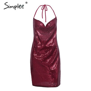 Simplee Halter backless sequin sexy dress women Deep v neck party dresses female club 2017 winter mini dress robe femme vestidos
