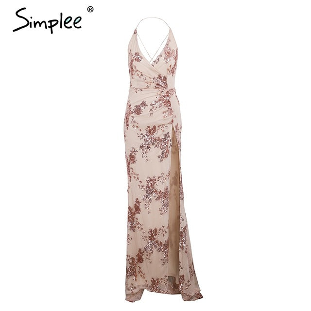 Simplee Sexy lace up halter sequin party dresses women Backless high split maxi dress women Christmas 2017  long dress vestidos