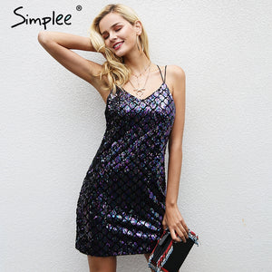 Simplee Sexy backless sequin winter dress women Strap elastic party dresses female Christmas club autumn mini dress vestidos
