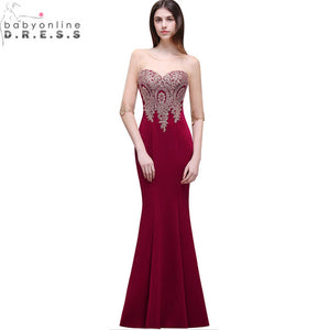 Robe de Soiree Longue Cheap Lace Half Sleeve Mermaid Burgundy Evening Dress 2017 Sexy Sheer Back Appliques Evening Gowns