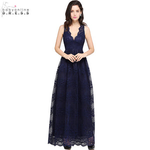 Robe de Soiree Sexy Sheer Back Navy Blue Lace Evening Dress Long 2017 Cheap V Neck A Line Evening Party Dresses Vestido de Festa