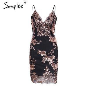 Simplee Sexy club strap backless mini dress women V neck sequin party dresses vestidos 2017 skinny christmas short autumn dress