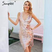 Simplee Sexy hollow out backless party dresses women Sequin v neck club mini dress female Zipper button short dress autumn 2017