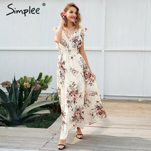 Simplee Ruffle backless bow print long dress Women v neck tie up summer dress female Casual beach boho chic maxi dress vestidos