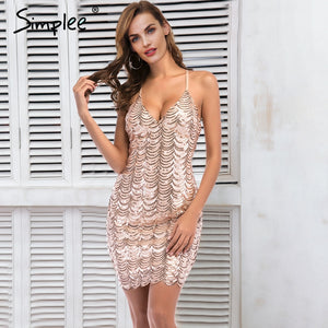 Simplee Sequin strap backless party dress female Summer sexy club women dress 2018 vintage wave mini dress robe femme vestidos