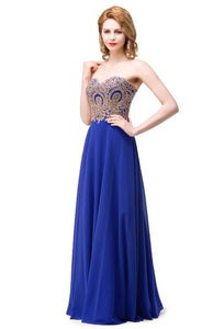 Robe de Soiree Sexy Backless Appliques Lace Chiffon Evening Dress 2017 Long Royal Blue Party Dresses Vestido de Festa Longo