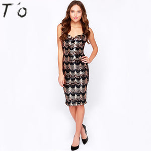 T'O Summer Sexy Wave Sequins V Neck Black Dress Sleeveless Cut Out Nigh Club Party Prom Casual Bodycon Sheath Pencil Dress 616