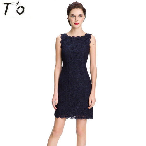 T'O Summer Woman Lace Crochet Pencil Dress V Back Sleeveless Elegant Party Club Office Work Casual Bodycon Sheath Dress 647
