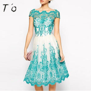 JTCWEAR Summer Woman Lace Blue White Dress Short Sleeve Tunic See Through Party Casual Office Lace Hem Ruffle Swing Dress 727