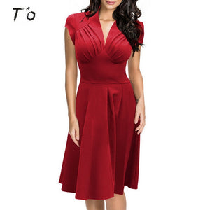 T'O 2016 New! Elegant Vintage Womens Ruffled Deep-V Neck Cap Sleeve A-Line Bridesmaid Party Tunic Big Swing Midi Dress 179