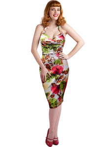 T'O 2016 New Womens Retro Vintage Sexy Deep-V Neck Halter Flare Floral Sleeveless Backless Party Club Pencil Dress 180