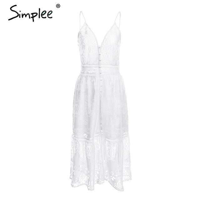 Simplee Strap sexy lace summer dress women V neck button casual white dress female Backless streetwear midi dress vestidos 2018