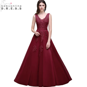 Robe de Soiree Longue 2017 Cheap Burgundy Lace Appliques Long Evening Dress Elegant Plus Size Evening Gowns Abendkleider