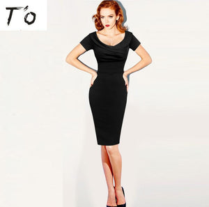 T'O Vintage Ruched V Neck Pinup Dress Short Sleeve Tunic Elegant Retro Party Club Prom Evening Bodycon Sheath Pencil Dresses 526