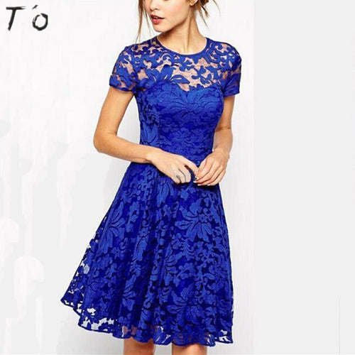 T'O Summer Woman See Through Transparent Lace Short Sleeve O Neck Tunic Party Club Prom Evening A Line Skater Vestidos Dress 634