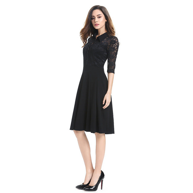 T'O Autumn Turn-down Collar Dress Elegant Buttoned Fit & Flare Lace See Through 3/4 Sleeve Tunic Office Lady Business Dress 710