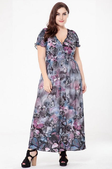 T'O Butterfly Plus Size Loose V Neck Ruffles Ruched Short Sleeve Tunic Bohemia Boho Party Club Maxi Floor Beach Long Dress 510