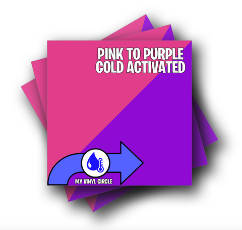 "Pink to Purple Cold Activated Color Changing Adhesive Vinyl 12""x12"" Sheet"