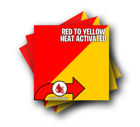 "Red to Yellow Heat Activated Color Changing Adhesive Vinyl 12""x12"" Sheet"