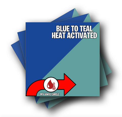 "Blue to Teal Heat Activated Color Changing Adhesive Vinyl 12""x12"" Sheet"