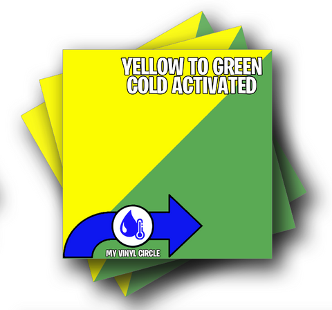 "Yellow to Green Cold Activated Color Changing Adhesive Vinyl 12""x12"" Sheet"