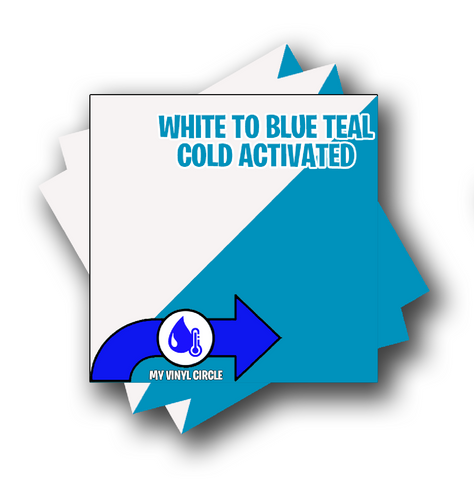 "Cold Activated White to Blue Teal Color Changing Vinyl 12""x12"" Sheet"