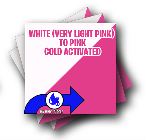 "Cold White to Pink Color Changing Vinyl 12""x12"" Sheet"