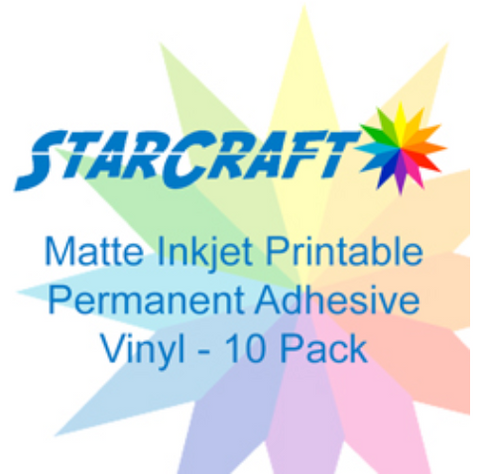 StarCraft Matte Printable Adhesive Vinyl 10-pack 8.5″ x 11″ Sticker Sheets