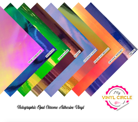 "12"" x 12"" Opal Holographic Permanent Adhesive Vinyl"