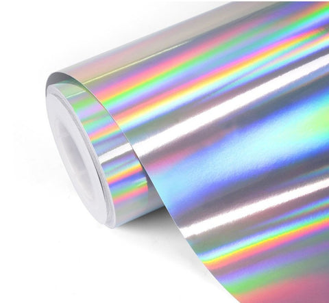 "12""x 12"" Sheet Rainbow Holographic Silver Chrome Magic Vinyl - Outdoor Decorative Adhesive Vinyl"